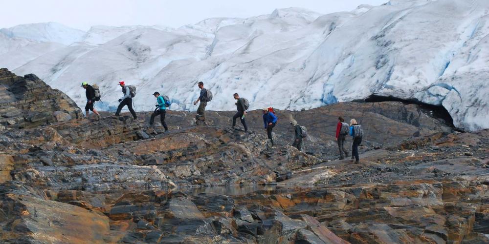 Hiking at the nunatac of the Grey Glacier
